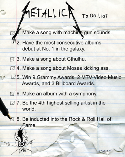 Metallica To Do List - From Cracked.com
