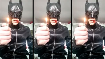 Lighter Explodes In Batmans Face