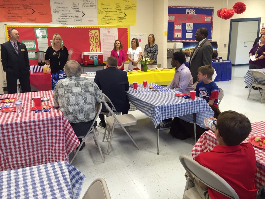Adrian Peterson joined students at Heritage Elementary along with Bibb County Board of Education members and the Superintendent to speak about his life.
