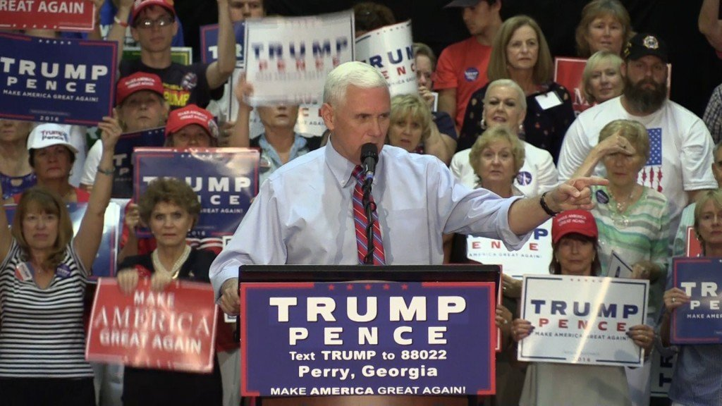 VP Presidential Candidate Mike Pence speaking to supporters.