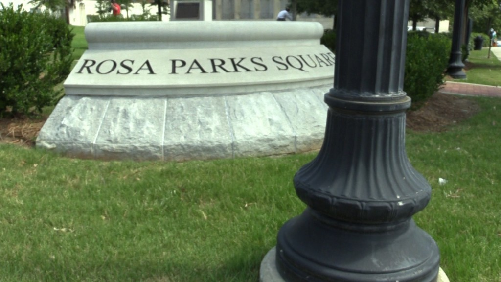 Sign in front of Rosa Parks Square.