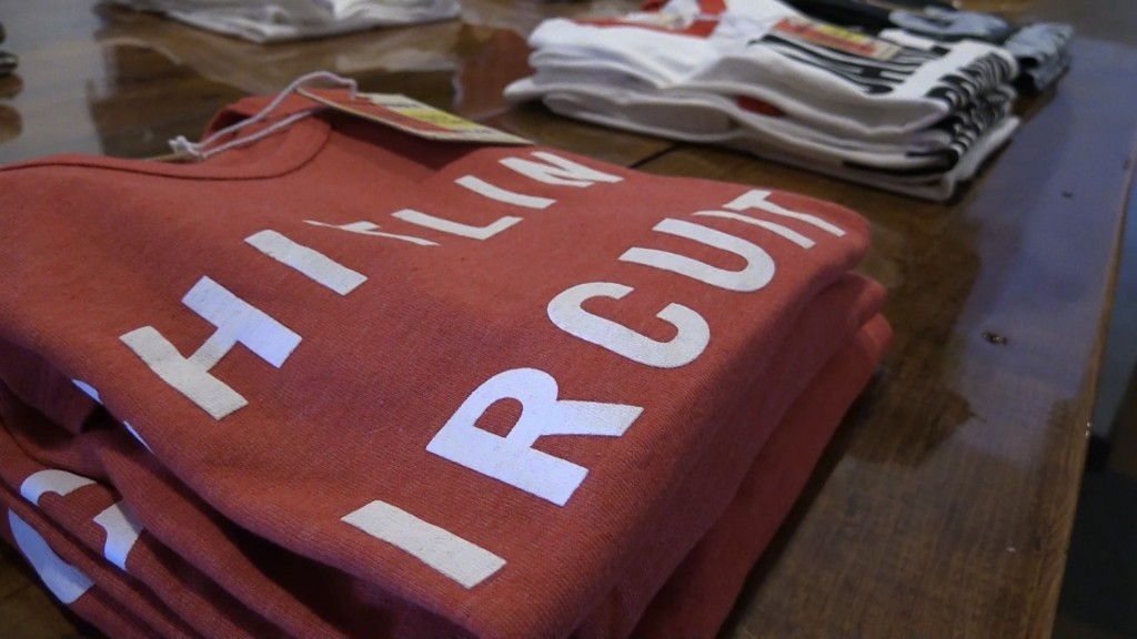 Ross Riddle is selling his unique t-shirts at a pop-up shop near the Rookery on Cherry Street.