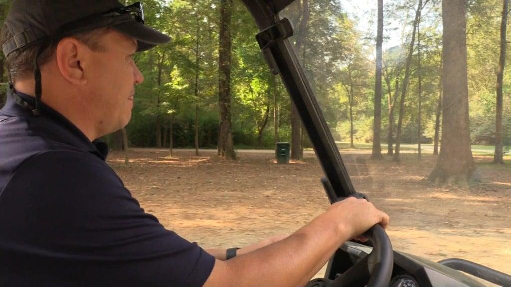 Steve Lawson driving around in park.