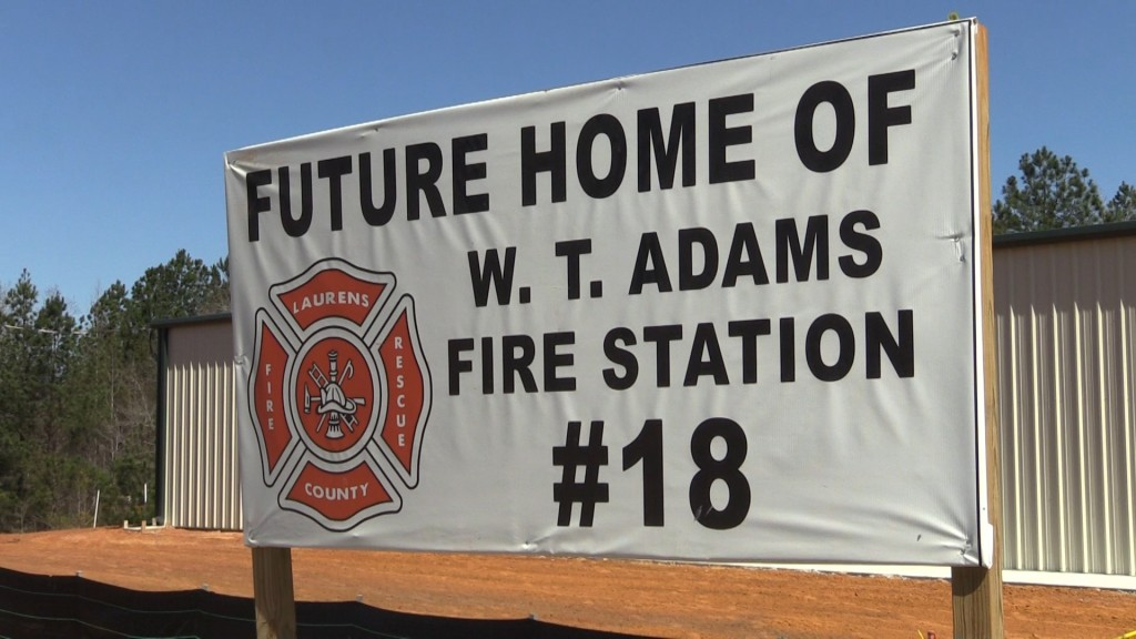 The new fire station near the intersection of Evergreen Road and Highway 441 in Laurens County will be named after W. T. Adams.