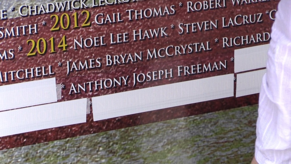 Bibb County deputy T.J. Freeman was honored for his service Wednesday with his name on a moving memorial wall to fallen officers.