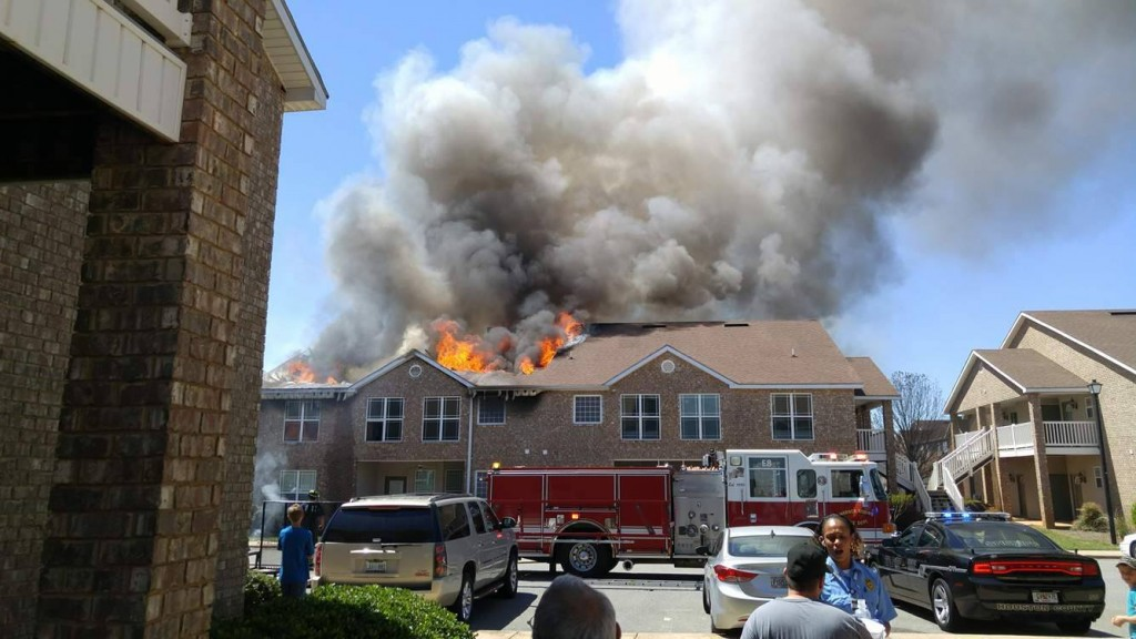 A fire burned through multiple apartments at Lenox Point Apartments on Karl Drive in Warner Robins. (Photo courtesy: Donovan Head)