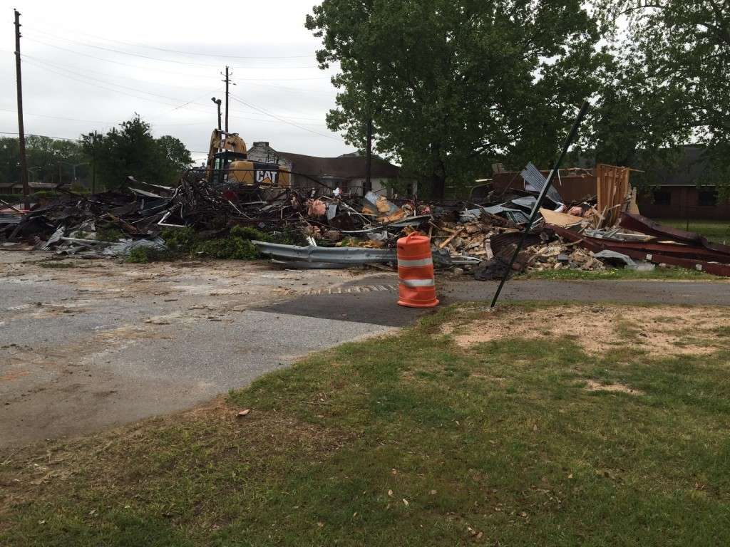 The old DMV building at Central City Park was demolished Monday morning as a part of a renovation plan.