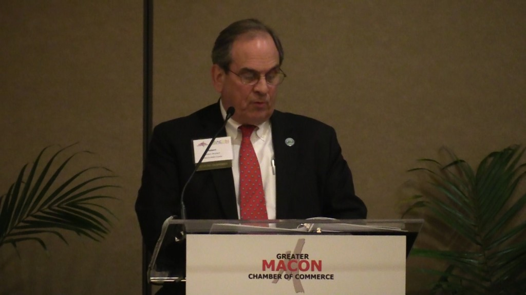 Macon-Bibb Mayor Robert Reichert address the crowd at the Greater Macon Chamber of Commerce's 2017 State of the Community Luncheon.