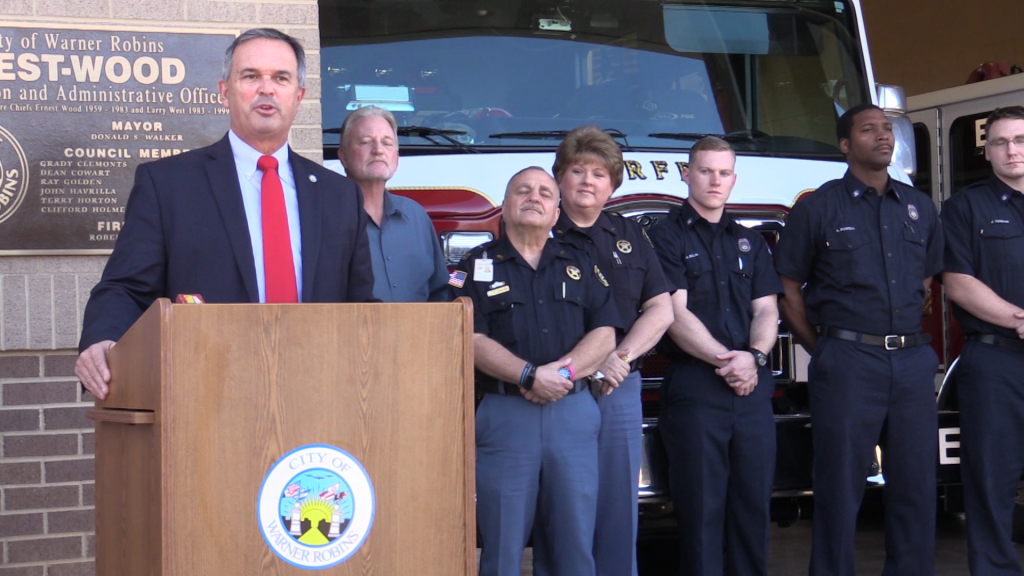 Warner Robins Mayor Randy Toms announced a lower ISO rating for the city Wednesday at the fire station on North Pleasant Hill Road.