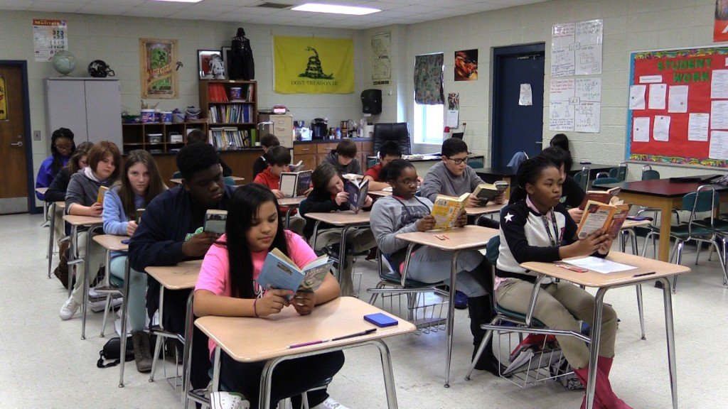Byron Middle School designates one day out of a week to help students expand their reading and comprehension skills.
