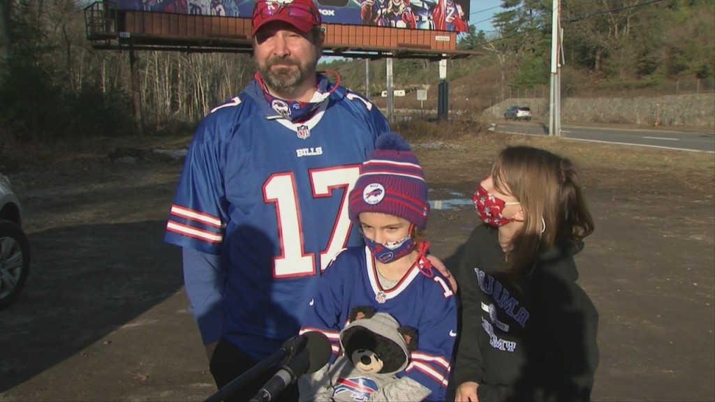 "Bills Fans Visit ""bills Board"" Taking Over Route 1 In Foxboro"