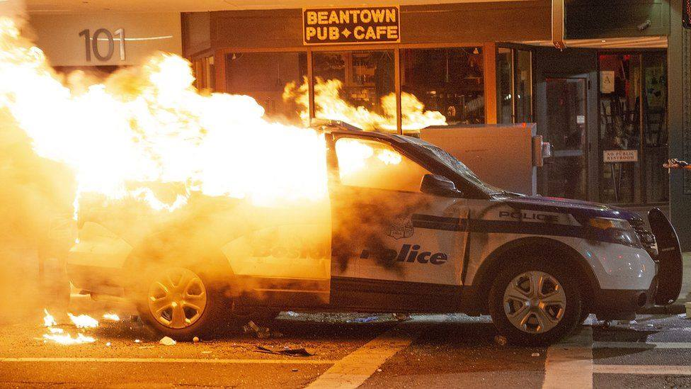 Torched Boston Police Cruiser