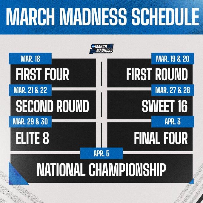 March Madness Schedule 1 19 Tweet