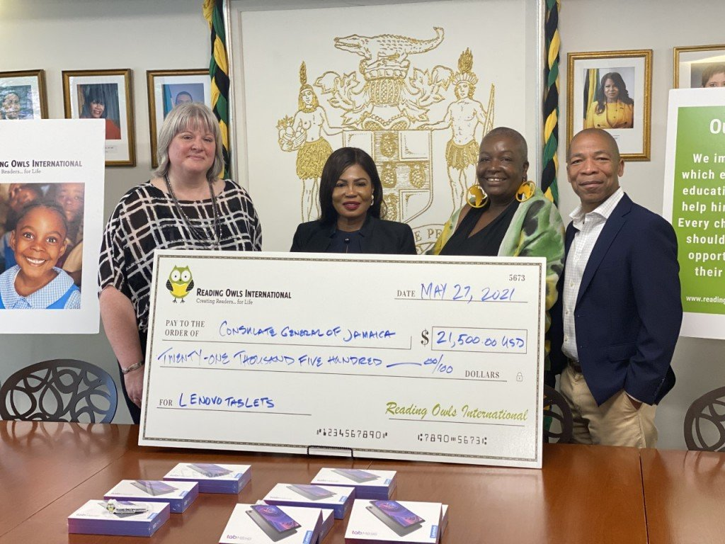 Thumbnail Ceremony At Consulate General Of Jamaica In Ny From Left Board Member Michelle Lundquist Cg Mrs Alsion Roach Wilson And Co Founders Easton And Elaine Dickson