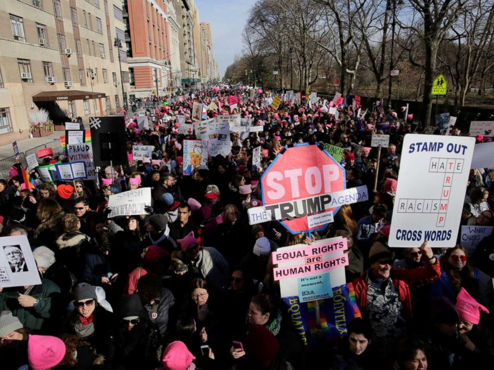 Hundreds of thousands protest in DC, across country on women's march anniversary