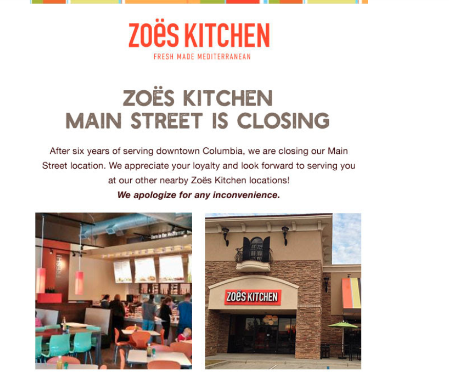 zoes kitchen on main street closes its doors - Zoes Kitchen Locations