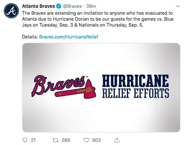 Braves offering free tickets to Dorian evacuees - ABC Columbia