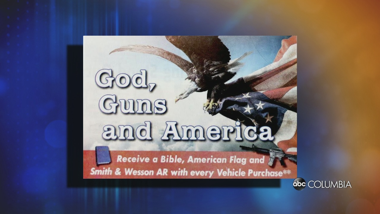 Ford Dealership Columbia Sc >> 'God, guns and America:' SC dealership gives away bible, flag, gun with purchase - ABC Columbia