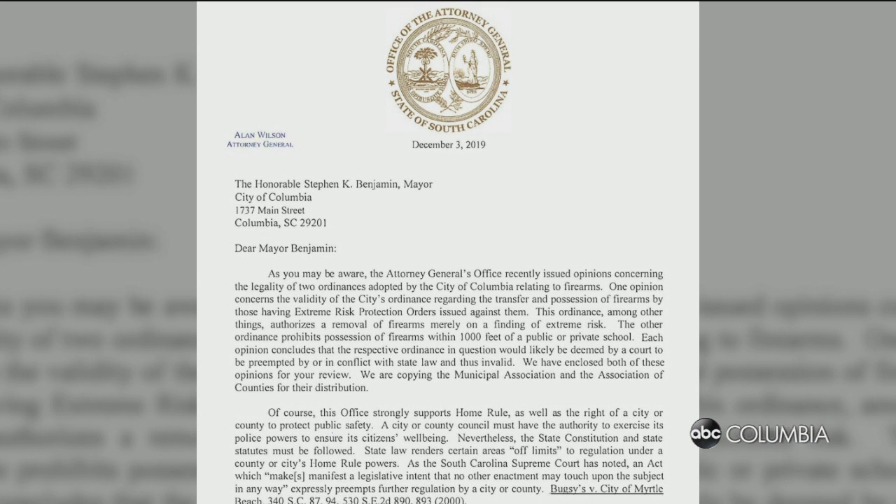 SC attorney general calls for Columbia Mayor to repeal two gun ordinances - ABC Columbia