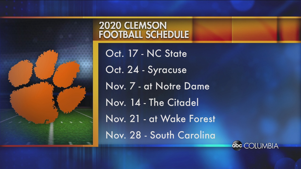 Clemson Releases 2020 Football Schedule Abc Columbia