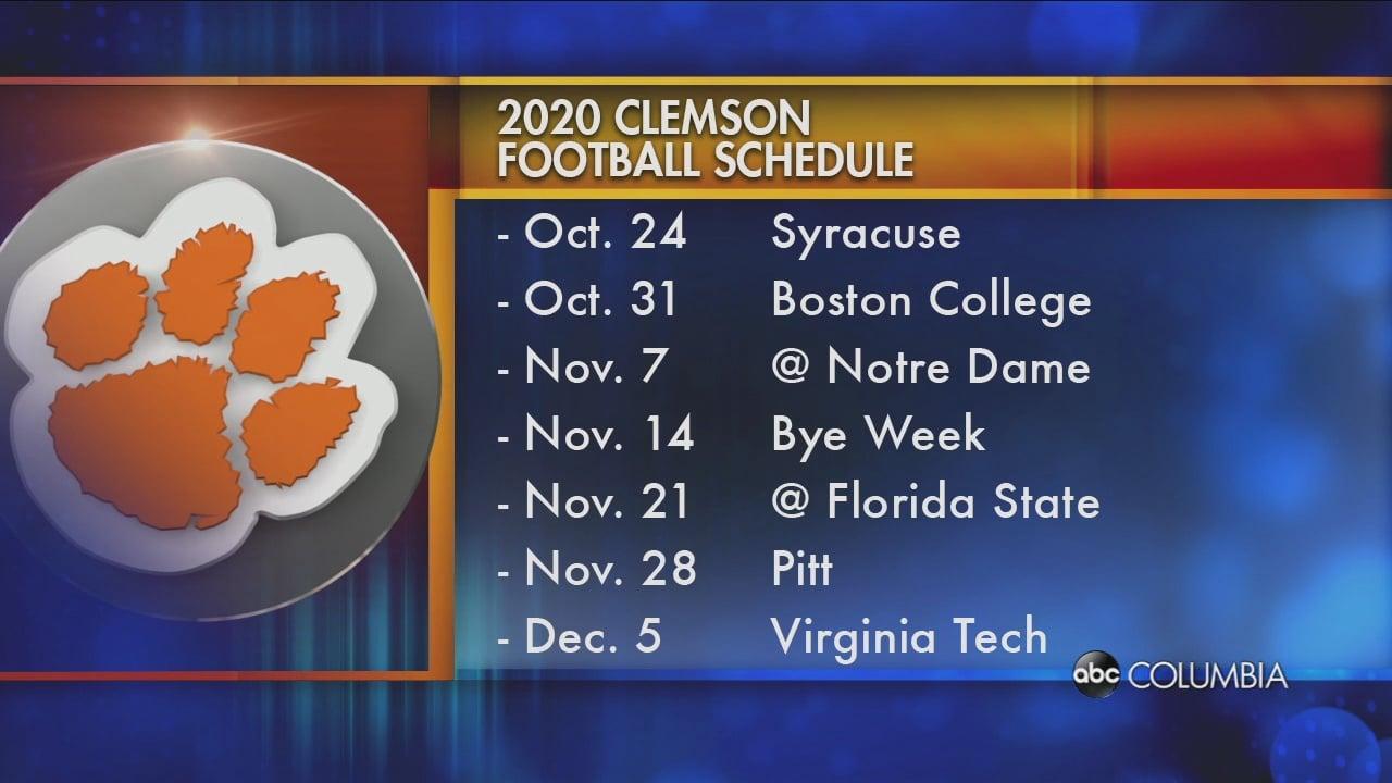 Clemson Calendar Fall 2022.Acc Releases 2020 Clemson Schedule Abc Columbia