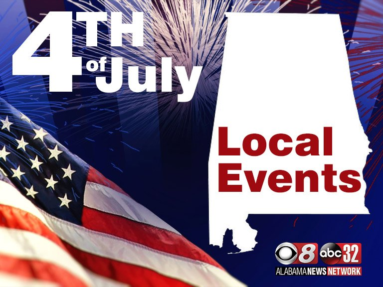 graphic of 4th of july local events for montgomery alabama