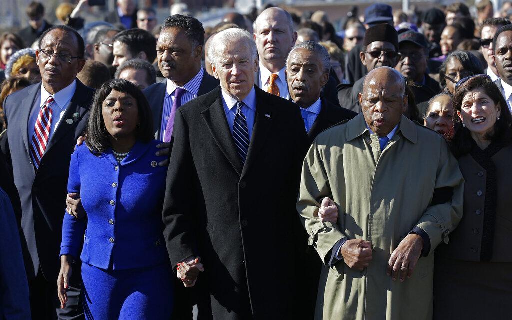 Joe Biden, Jesse Jackson, Al Sharpton, Terri Sewell, John Lewis, George Evans