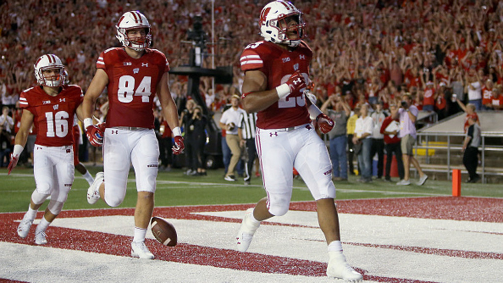 MADISON, WI – AUGUST 31:  Jonathan Taylor #23 of the Wisconsin Badgers celebrates after scoring a touchdown in the second quarter against the Western Kentucky Hilltoppers at Camp Randall Stadium on August 31, 2018 in Madison, Wisconsin. (Photo by Dylan Buell/Getty Images)