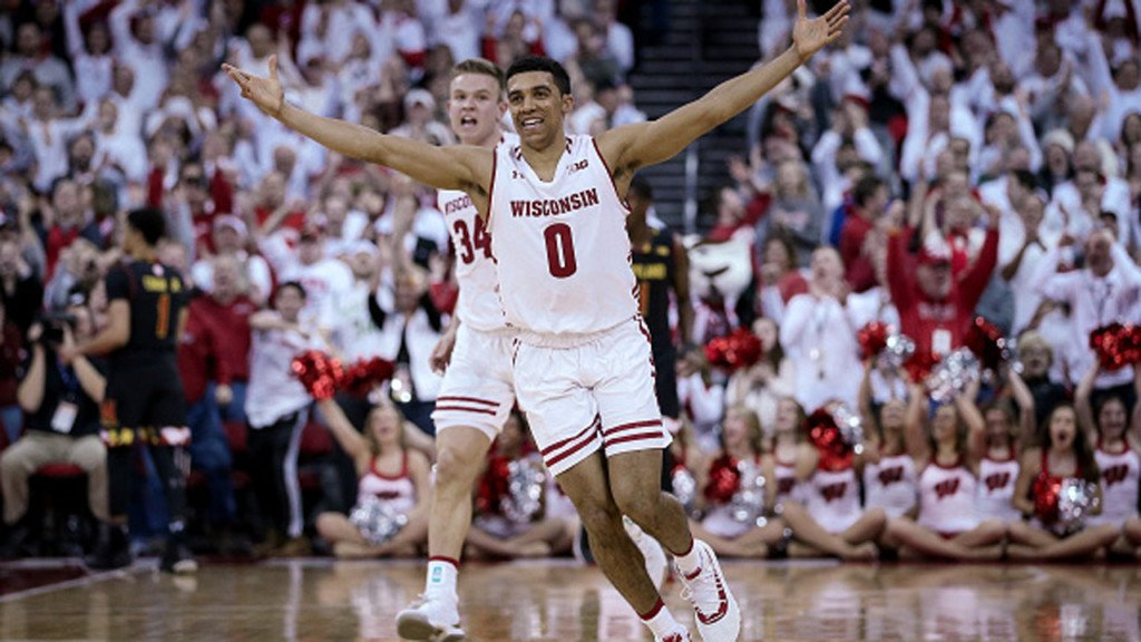 D'Mitrik Trice #0 of the Wisconsin Badgers in February