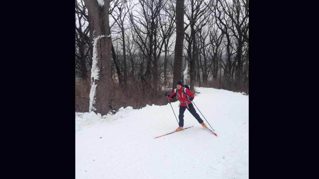Person skiing in snow