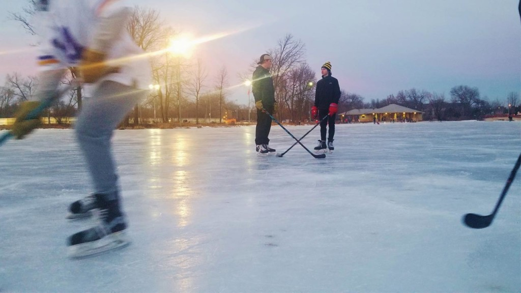 Hockey skaters at dusk at Tenney Park Lagoon. Photo by Jonnah Perkins