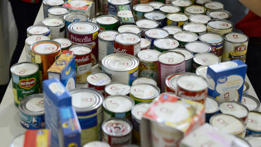 cans set up on a table