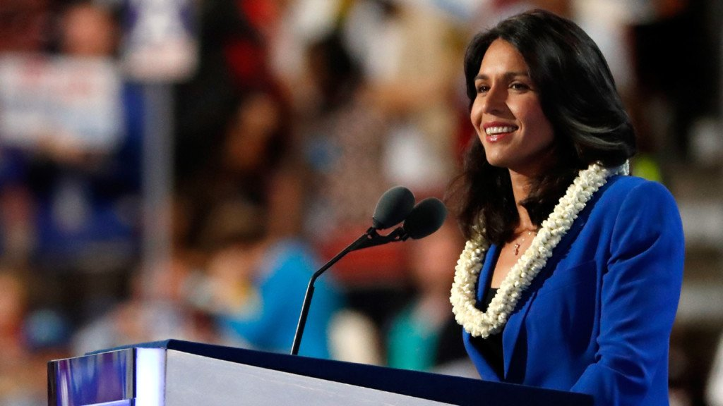 Democrat: U.S. Rep. Tulsi Gabbard from Hawaii. At 37, she's one of the youngest to announce candidacy.