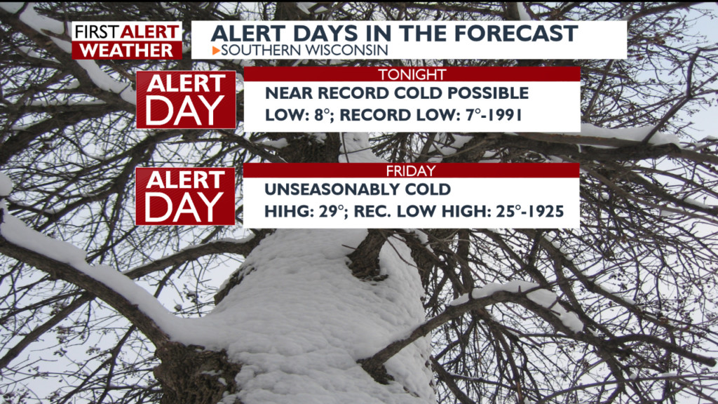 Near-record cold tonight, then unseasonably cold again early next week