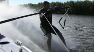 Barefoot water-skiers don't give up in the cold