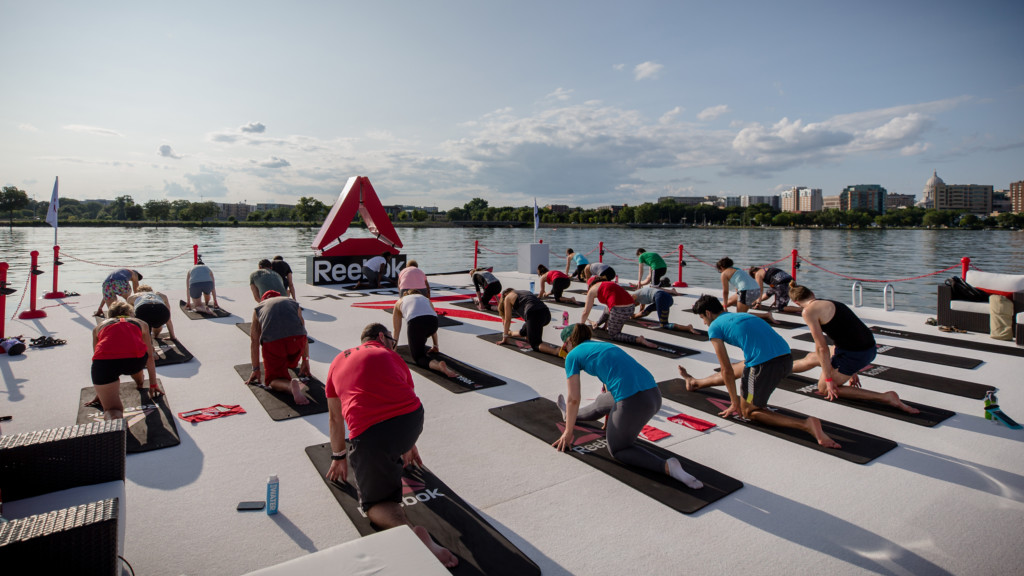 Reebok's Fit Barge provides free fitness classes on Lake Monona during the CrossFit Games