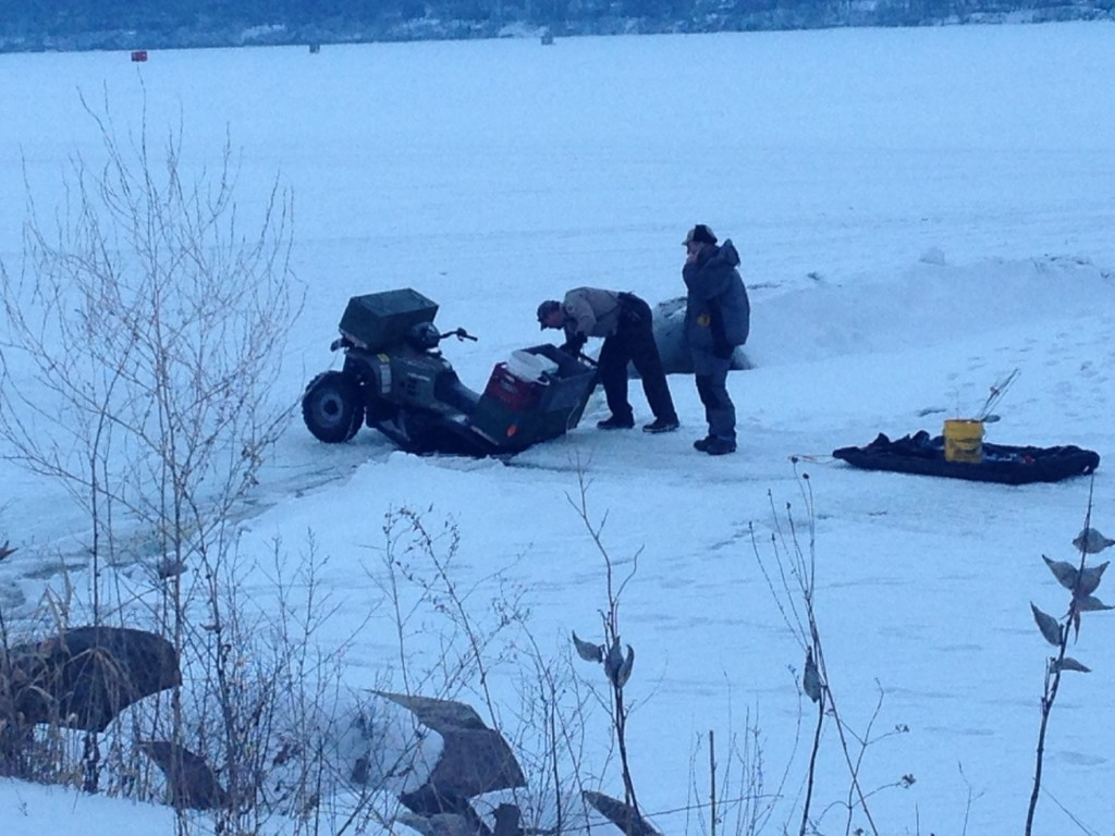 4-wheeler gets stuck in the ice on Lake Mendota