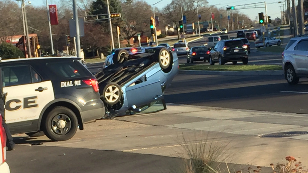 Car rollover on University Avenue leaves person potentially pinned