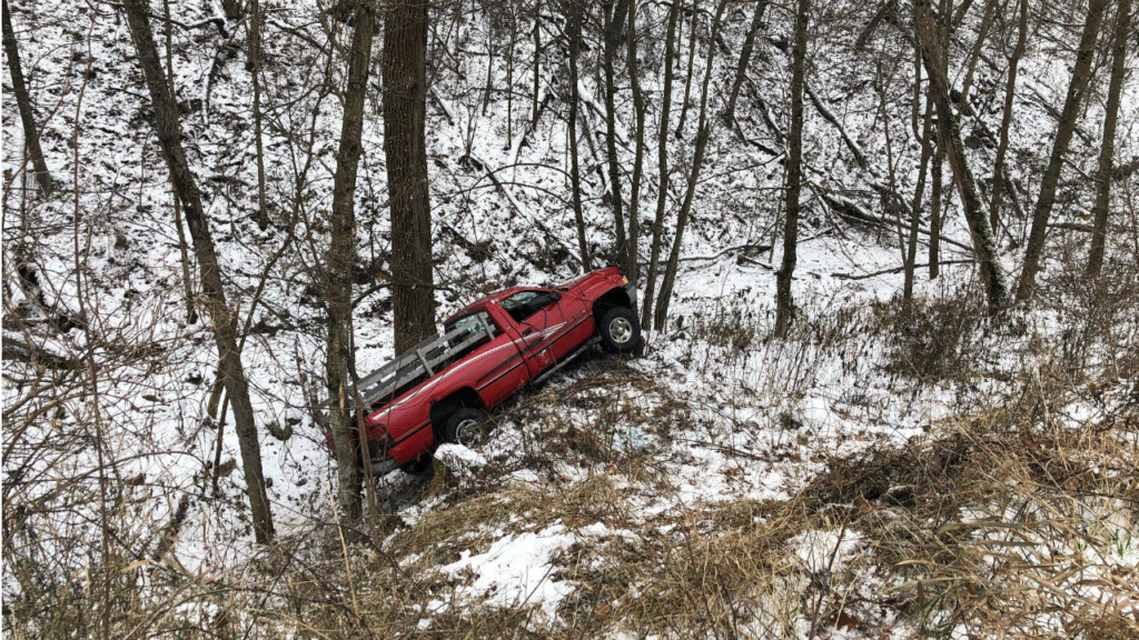Mom, 2-year-old safe after truck rolls down embankment