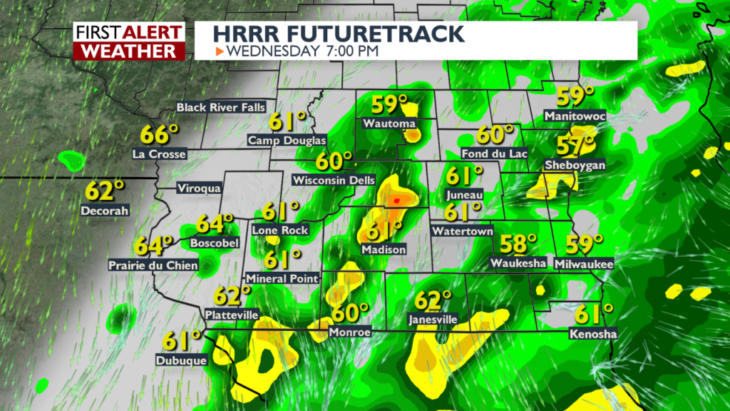 Wet and cool Wednesday in store for southern Wisconsin