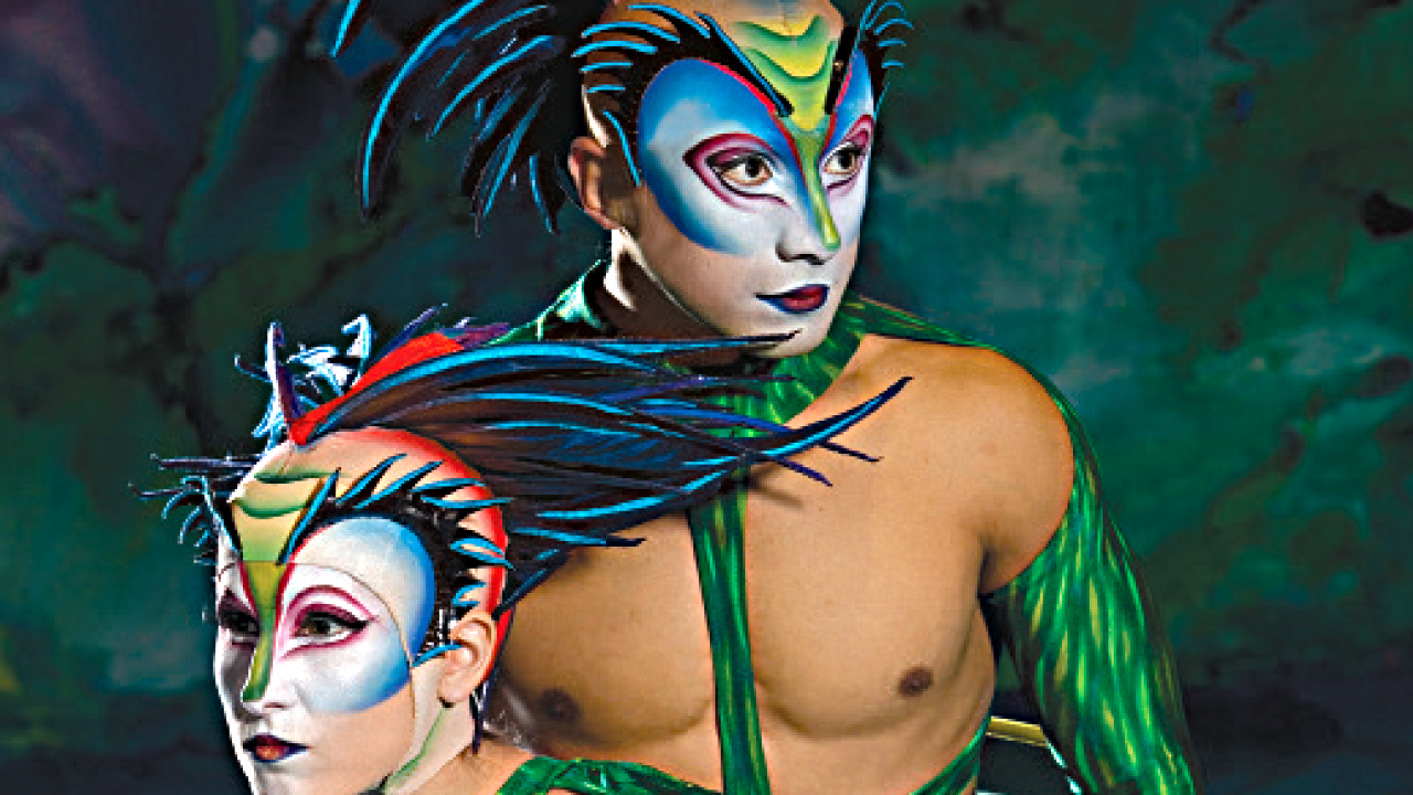 two performers in costume as part of Cirque du Soleil