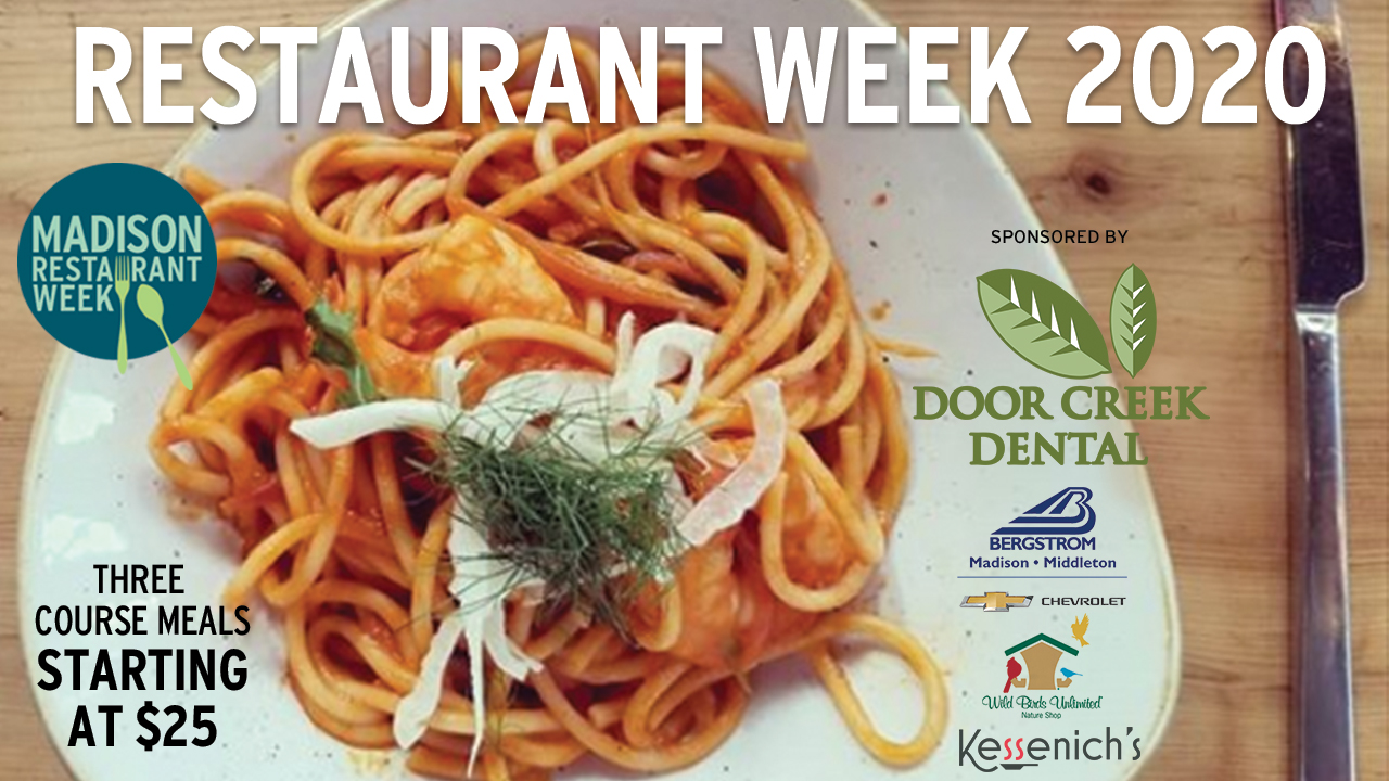 Madison Restaurant Week 2020 with three sponsor logos and a plate of pasta