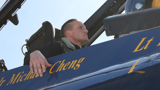 A. J. Hawk flies with the Blue Angels