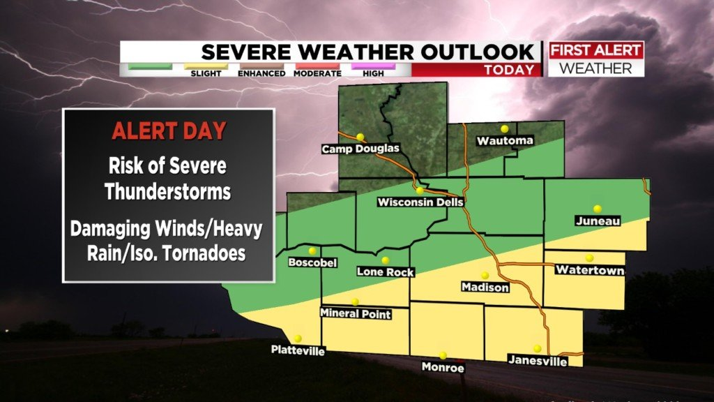 ALERT DAY: Strong storms and damaging winds possible this afternoon