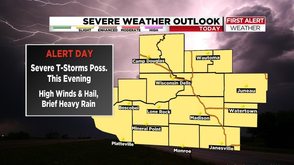 Evening thunderstorms could bring high winds and hail