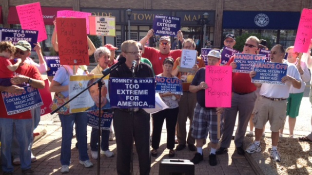 Protesters rally outside Paul Ryan's Janesville office