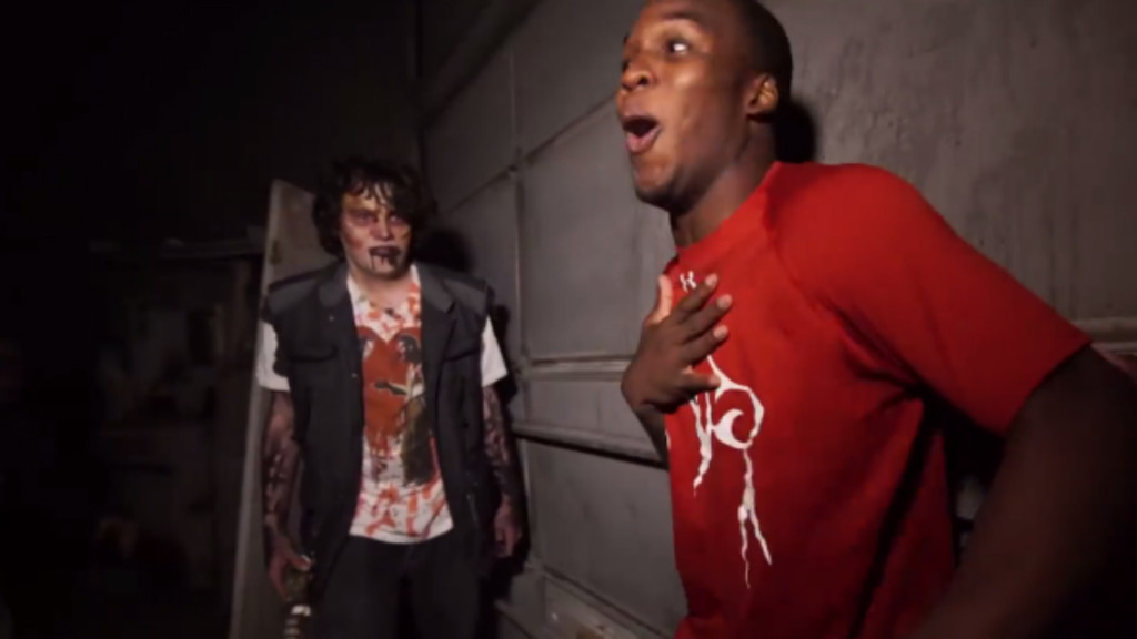 Badgers football players spooked at haunted house