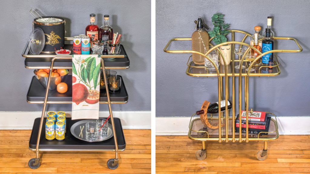 Two ways to create your own bar cart at home