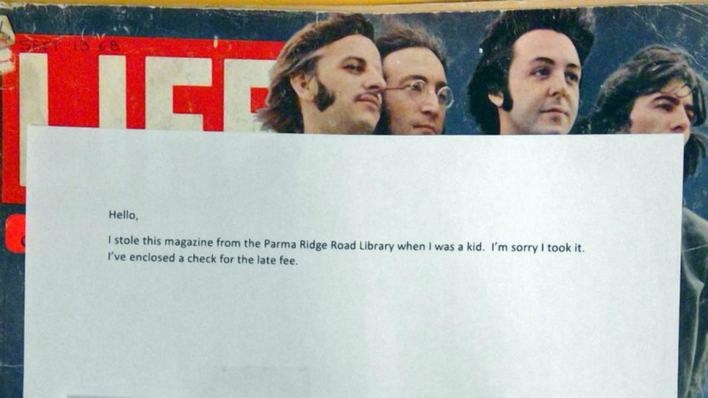 Overdue library magazine with Beatles on cover back 50 years later