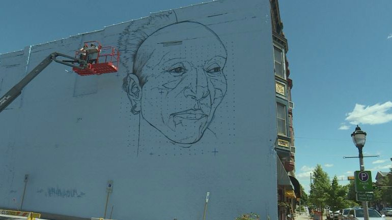 Larger than-life mural of Chief Black Hawk poised to transform downtown Janesville